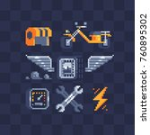pixel art style icons set.... | Shutterstock .eps vector #760895302