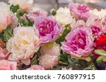 white and purple peonies in vase | Shutterstock . vector #760897915