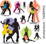 set vector dance couple... | Shutterstock .eps vector #76089901