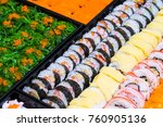 many sushi japanese food in... | Shutterstock . vector #760905136