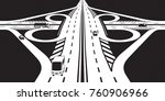 intersection of two highways  ... | Shutterstock .eps vector #760906966