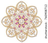 mandala brooch jewelry  design... | Shutterstock .eps vector #760908712