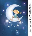 illustration the girl on the... | Shutterstock . vector #760908826