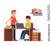 man working on laptop computer... | Shutterstock .eps vector #760912522