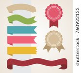 set of multicolored ribbons in... | Shutterstock .eps vector #760922122