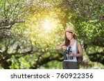 travel women are watching the... | Shutterstock . vector #760922356