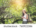 travel happy woman tourists the ... | Shutterstock . vector #760922386