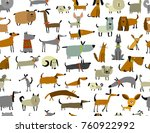 cute dogs collection  seamless... | Shutterstock .eps vector #760922992