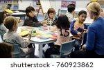 happy kids at elementary school | Shutterstock . vector #760923862