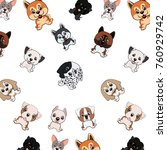pattern with different funny... | Shutterstock .eps vector #760929742