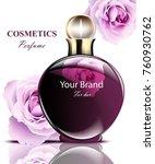 women perfume dark bottle with... | Shutterstock .eps vector #760930762