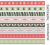 vintage christmas ribbons | Shutterstock .eps vector #760931392