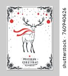 merry christmas greeting card... | Shutterstock .eps vector #760940626