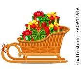 wicker wood sleigh with festive ...   Shutterstock .eps vector #760941646