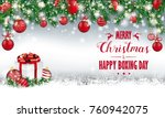 gray christmas card with with... | Shutterstock .eps vector #760942075