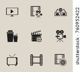 set of 9 editable cinema icons. ... | Shutterstock .eps vector #760952422