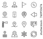thin line icon set   pointer ... | Shutterstock .eps vector #760953676