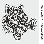 tiger tribal tattoo graphic... | Shutterstock .eps vector #760955752