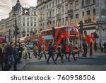 Small photo of London, UK - November 2017. Decorated Oxford Circus crowded with people shopping for Christmas.