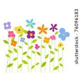 cheerful fantasy spring flowers ... | Shutterstock .eps vector #76096183