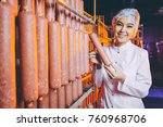 sausage meat factory production ... | Shutterstock . vector #760968706