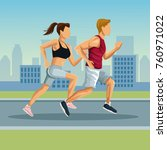 marathon in the city cartoon | Shutterstock .eps vector #760971022