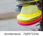 Colorful Hats In Outdoor Store...