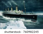 old passenger ship rides over... | Shutterstock . vector #760982245