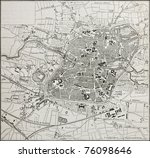 old map of nuremberg  germany.... | Shutterstock . vector #76098646