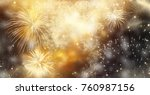 fireworks at new year and copy... | Shutterstock . vector #760987156
