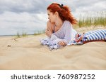 girl in a swimsuit at the beach ...   Shutterstock . vector #760987252