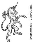 a rampant unicorn standing on... | Shutterstock .eps vector #760990588