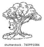 a fairytale big bad wolf... | Shutterstock .eps vector #760991086