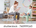 child psychologist and young...   Shutterstock . vector #760999165