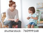 smiling little boy talking with ... | Shutterstock . vector #760999168