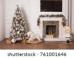 christmas room interior design... | Shutterstock . vector #761001646