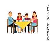 happy family having meal... | Shutterstock .eps vector #761001952