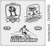 set of winter sports emblems ... | Shutterstock .eps vector #761015932
