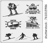 set of winter sports emblems ... | Shutterstock .eps vector #761015986