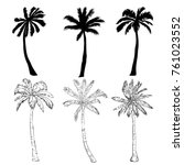 palm tree silhouette icons on... | Shutterstock . vector #761023552