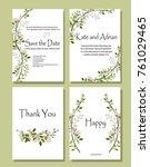 set of botanical vector cards.... | Shutterstock .eps vector #761029465