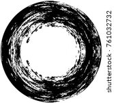 grunge black and white circle... | Shutterstock .eps vector #761032732