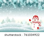 snowman in snowy winter... | Shutterstock .eps vector #761034922