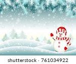 snowman in snowy winter...   Shutterstock .eps vector #761034922