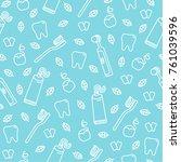 cute cartoon vector seamless... | Shutterstock .eps vector #761039596
