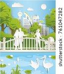 eco city paper art. modern town ...   Shutterstock .eps vector #761047282