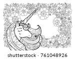 unicorn and flower pattern.... | Shutterstock .eps vector #761048926