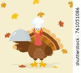 turkey chef cartoon mascot...   Shutterstock . vector #761051086
