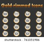 mail gold rimmed icons for your ... | Shutterstock .eps vector #761051986