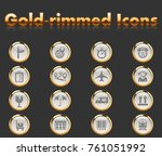 logistic gold rimmed icons for... | Shutterstock .eps vector #761051992